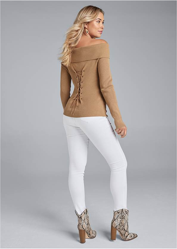 Full back view Off The Shoulder Corset Detail Sweater