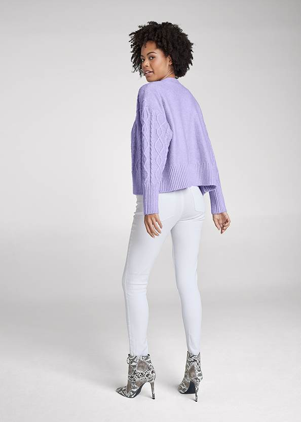 Full back view Cable Knit Cardigan Set
