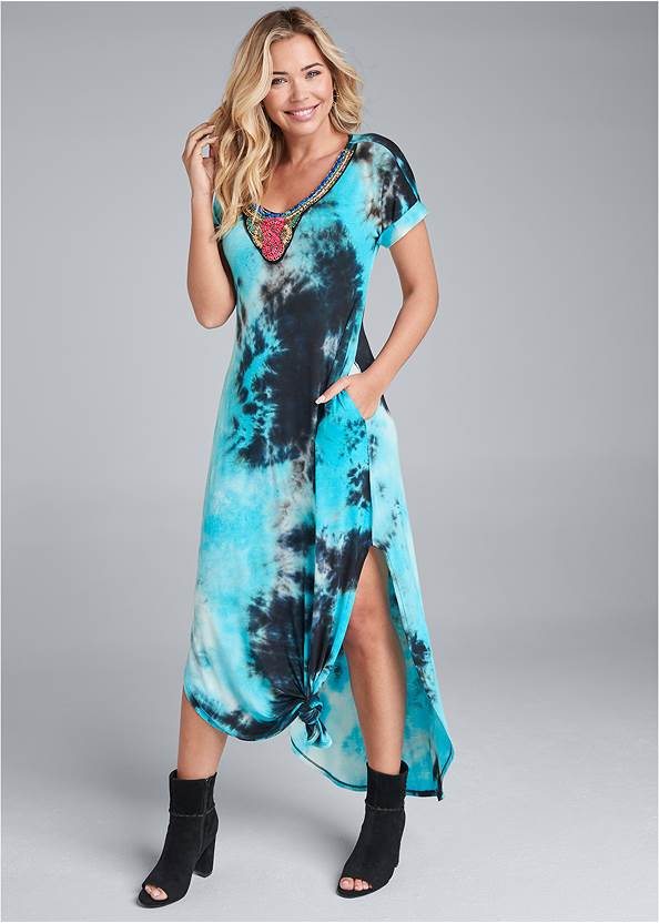 Tie Dye Maxi Dress,Raffia Hoop Earring Set,Paisley Denim Weekender Bag