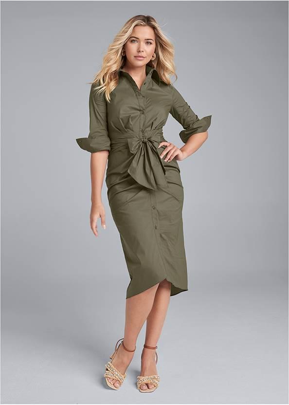Button Down Shirt Dress,T-Strap Ankle Heels,Raffia Hoop Earring Set,Rhinestone Raffia Clutch
