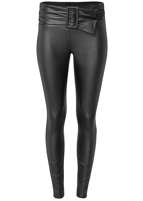 Alternate View Belted Faux Leather Leggings