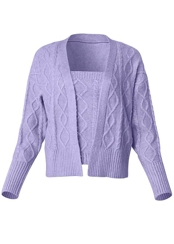 Ghost with background  view Cable Knit Cardigan Set