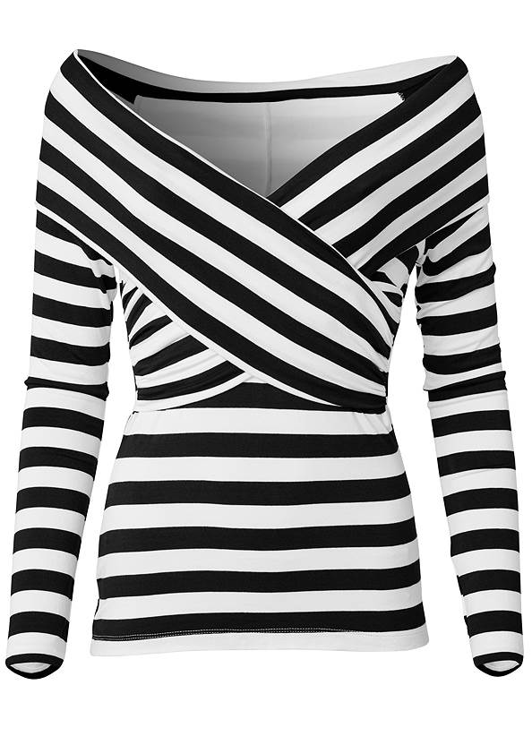 Ghost with background  view Stripe Off-The-Shoulder Top
