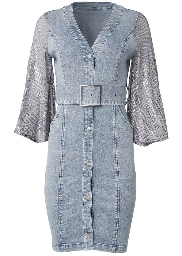 Ghost with background  view Sequin Sleeve Denim Dress