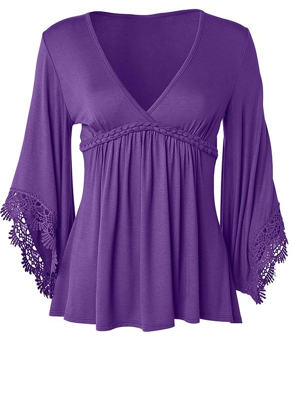 Ghost with background  view Lace Bell Sleeve Boho Top