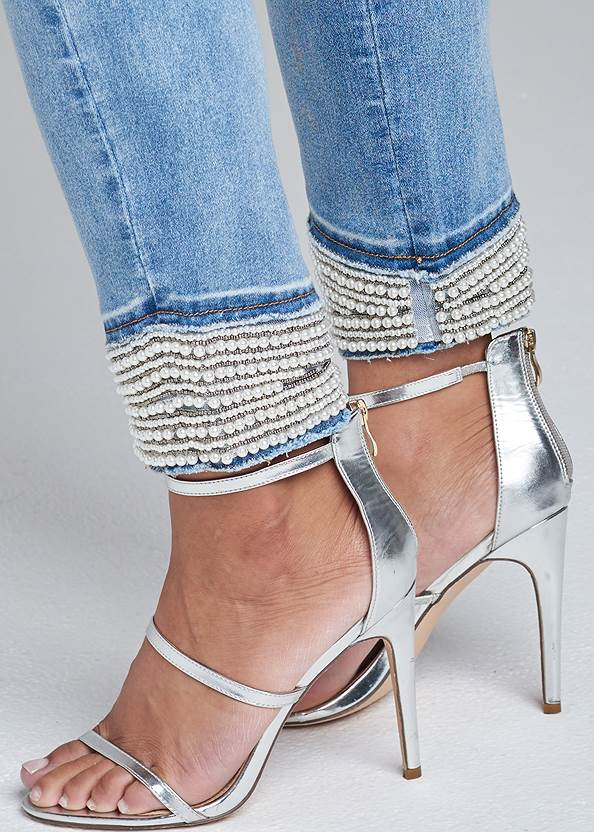 Alternate View Cropped Pearl Cuff Jeans