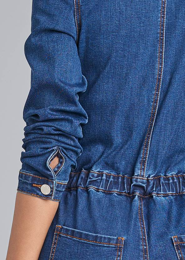 Detail back view Embroidered Denim Jumpsuit