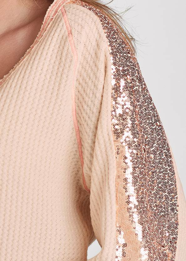 Detail front view Sequin Waffle Knit Top