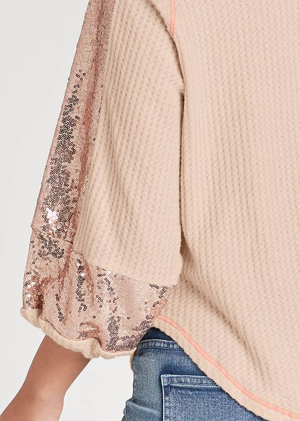 Detail back view Sequin Waffle Knit Top