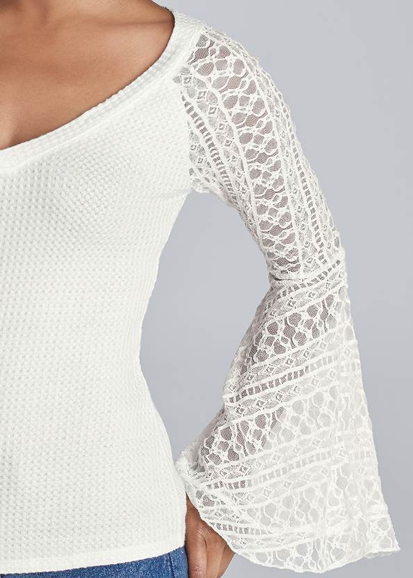 Alternate View Lace Bell Sleeve Waffle Knit Top
