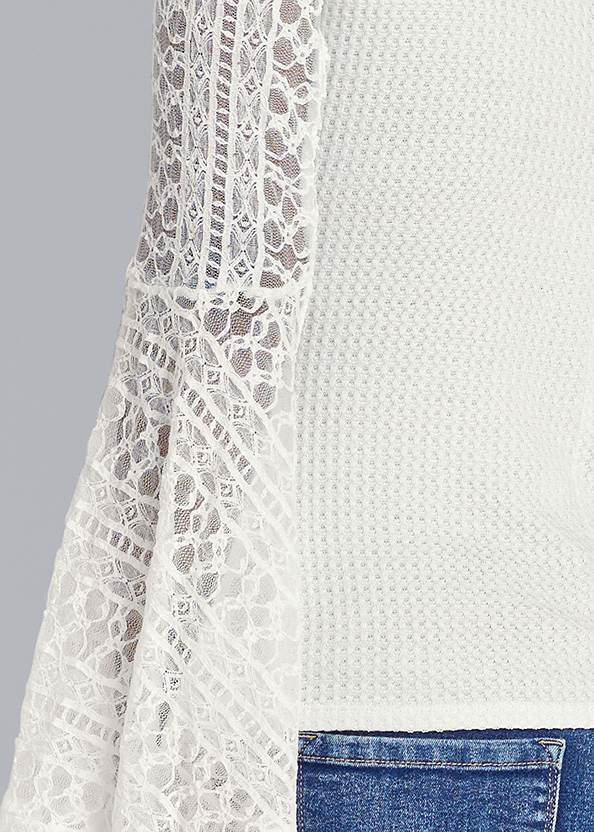 Detail back view Lace Bell Sleeve Waffle Knit Top