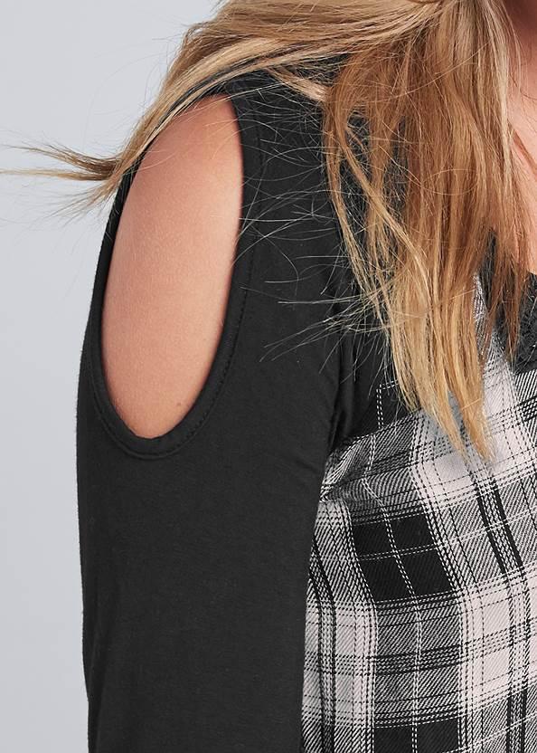 Detail front view Plaid Cold Shoulder Top