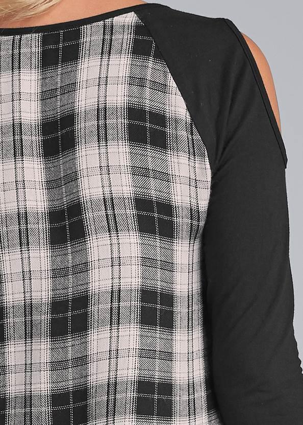 Detail back view Plaid Cold Shoulder Top