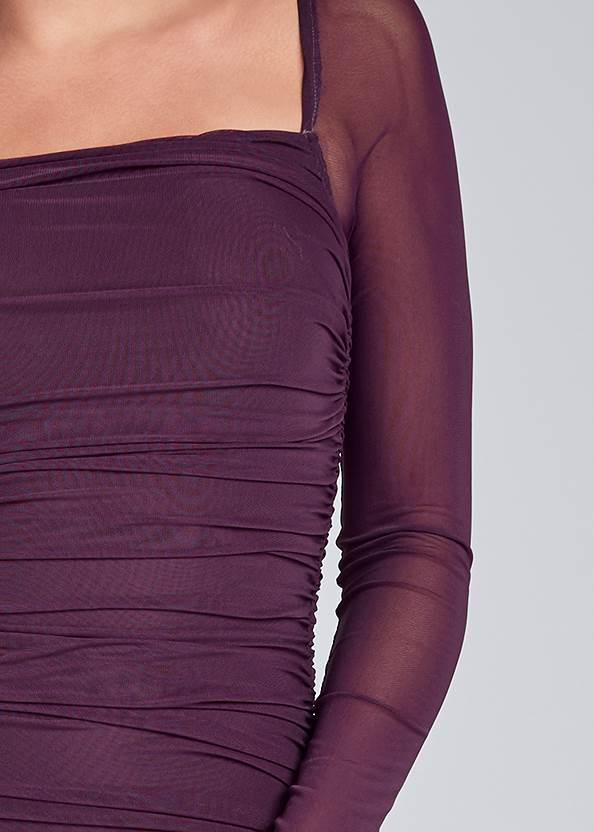 Detail front view Ruched Mesh Bodycon Dress