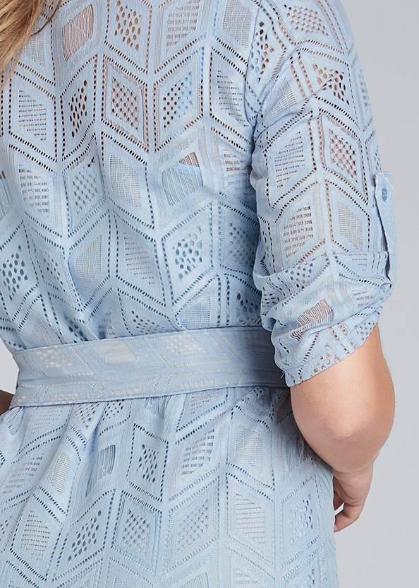 Detail back view Lace Button Down Maxi Dress