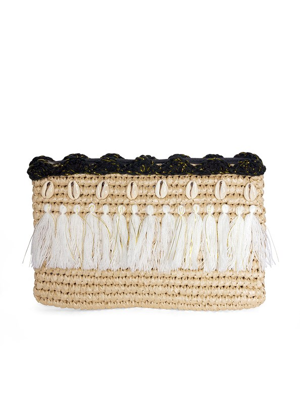 Natural Tassel Clutch,Casual Print Romper,Lucite Ankle Wrap Wedge,Tortoise Fringe Earrings,Woven Rattan Buckle Belt