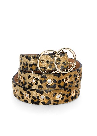 Faux Pony Hair Leopard Belt