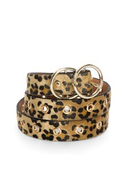 Flatshot  view Faux Pony Hair Leopard Belt