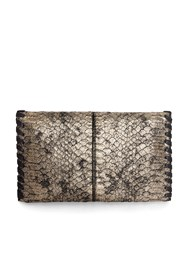 Flatshot back view Metallic Faux Animal Clutch