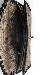 Flatshot open view Metallic Faux Animal Clutch