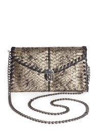 Flatshot front view Metallic Faux Animal Clutch