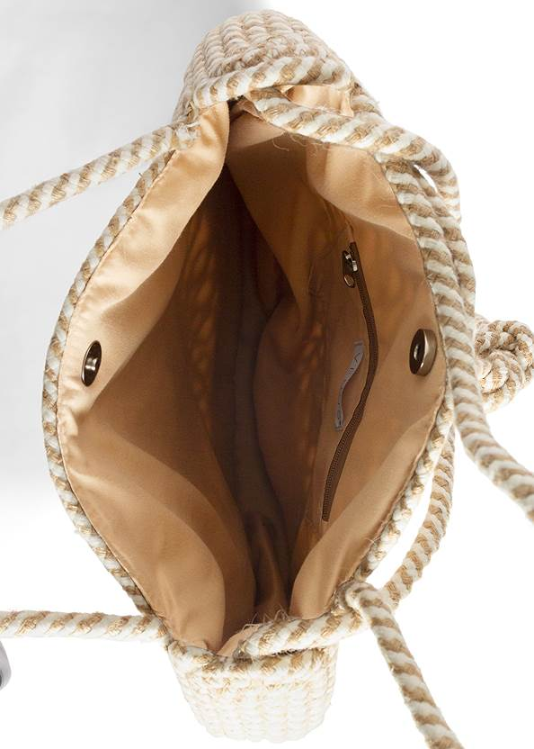 Flatshot open view Striped Rope Shell Tote Bag