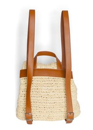Back View Boho Straw Backpack