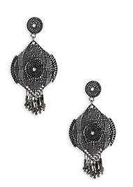 Flatshot  view Beaded Fringe Medallion Earrings