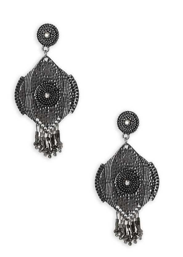 Beaded Fringe Medallion Earrings,Printed Halter Tie Dress