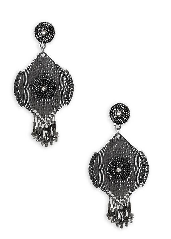 Beaded Fringe Medallion Earrings