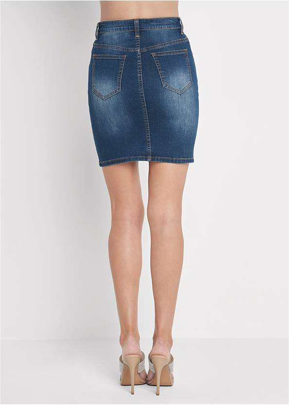 Waist down back view Jean Skirt With Faux Pearls