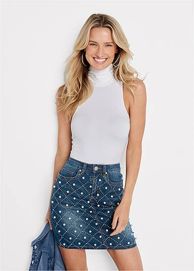 Jean Skirt With Faux Pearls