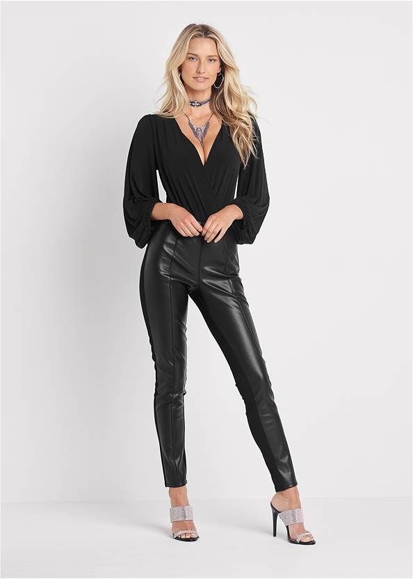 Ponte Faux Leather Leggings,Color Block Top,Balloon Sleeve Blouse,Studded Faux Leather Tote,Chain Detail Hoop Earrings,Sexy Slingback Heels