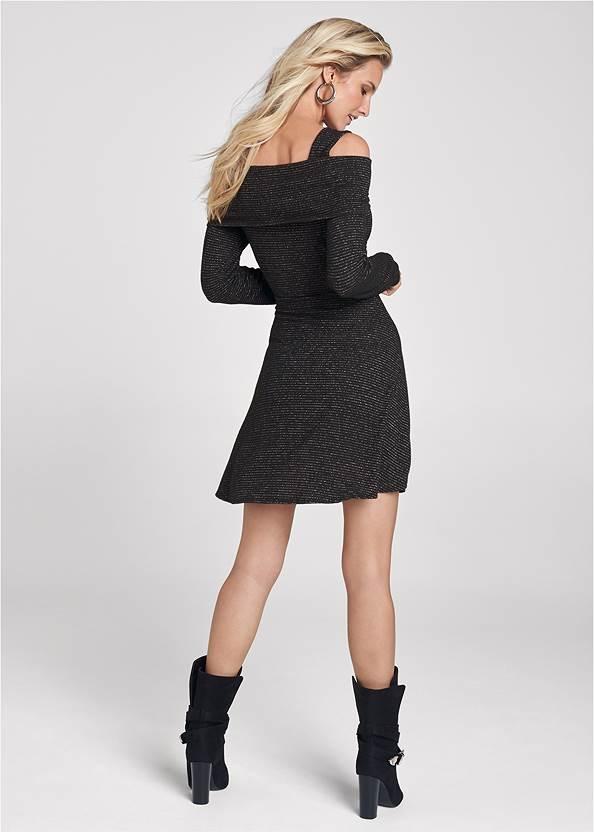 Full back view Cold Shoulder A-Line Dress