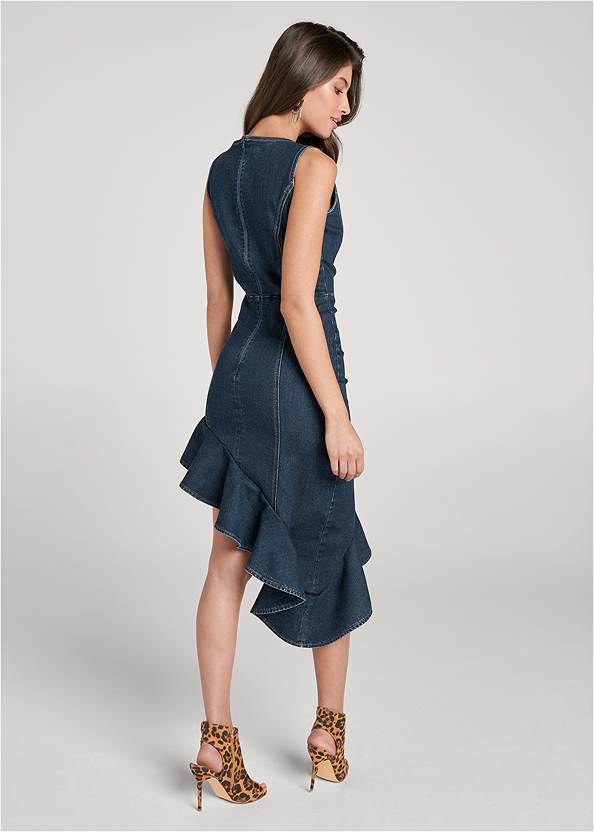 Full back view Asymmetrical Denim Dress