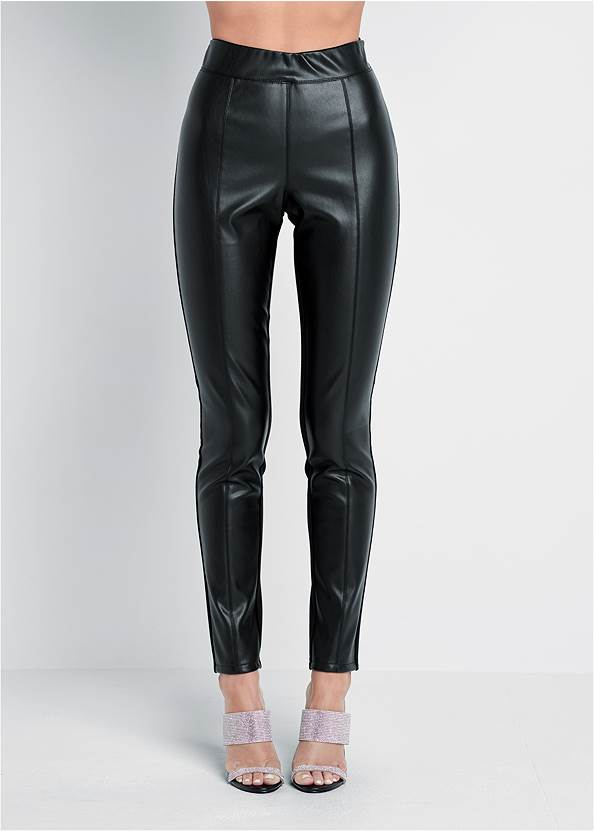 Waist down front view Ponte Faux Leather Leggings