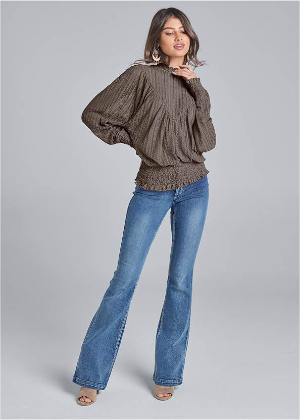 Full front view Smocked Mock Neck Top