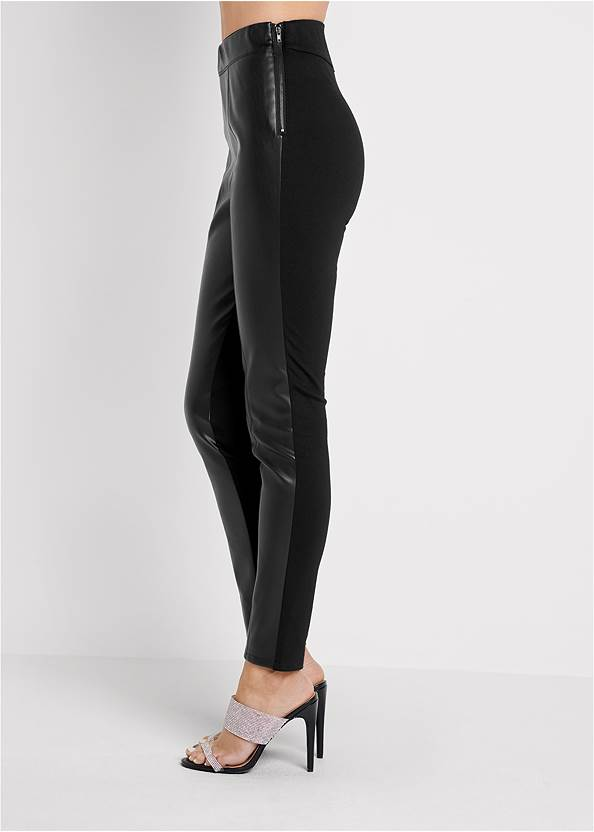 Waist down side view Ponte Faux Leather Leggings