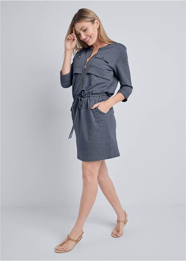 Full front view Zipper Detail Lounge Dress