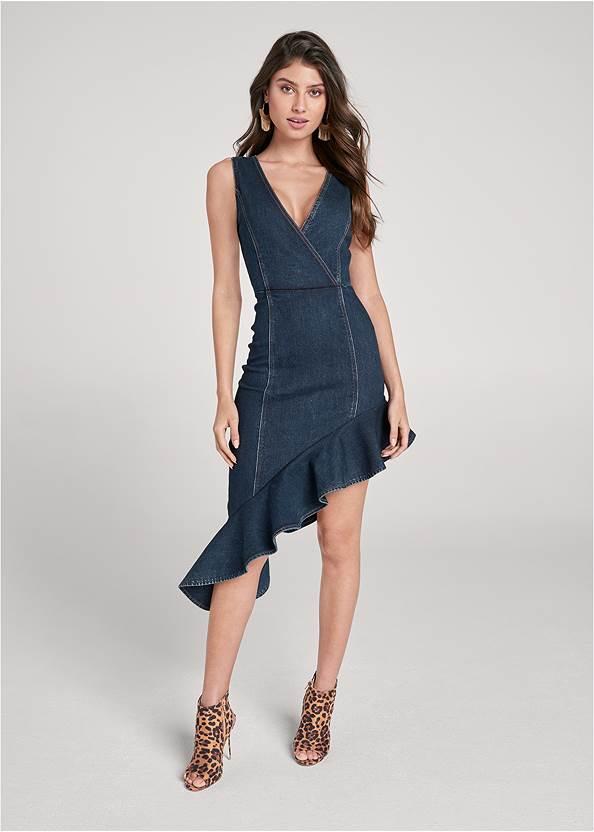 Asymmetrical Denim Dress,Peep Toe Print Heels,Hammered Fringe Earrings,Leopard Fringe Crossbody