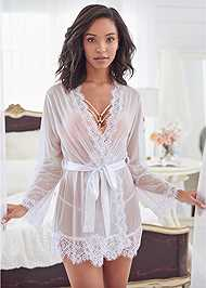 Front View Sheer Robe With Lace Trim