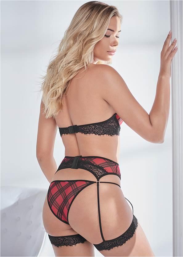 Back View Bra Panty And Garter Set