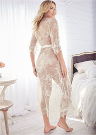 Back View Sheer Lace Maxi Robe