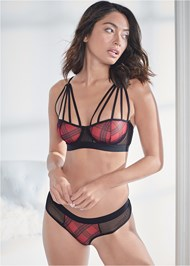 Cropped Front View Strappy Bra And Panty Set