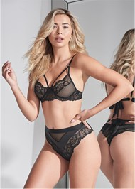 Cropped front view Lace Bra And Panty Set