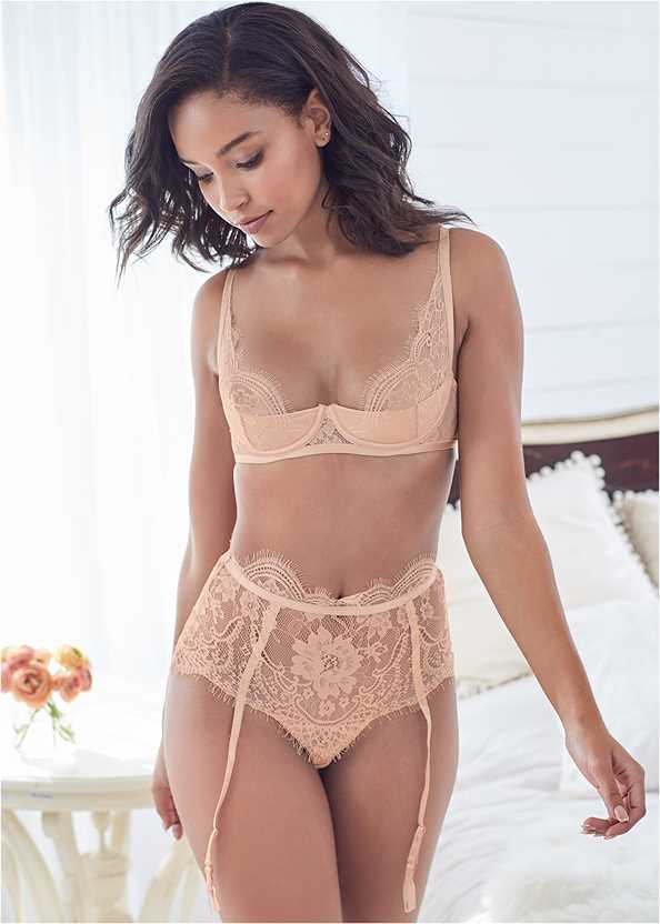 Lace Bra Skirt Set