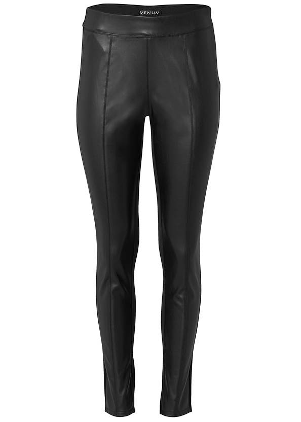 Ghost with background  view Ponte Faux Leather Leggings