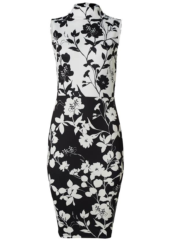 Ghost with background  view Floral Mock Neck Midi Dress
