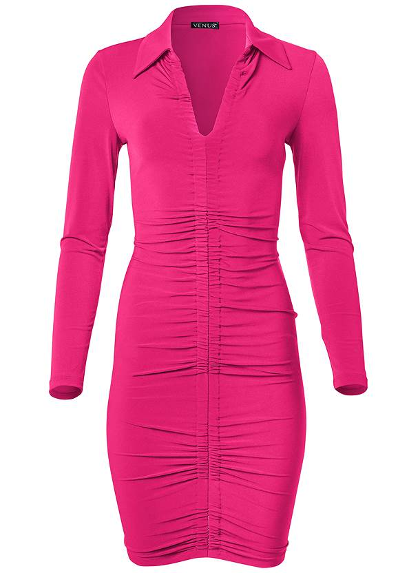Ghost with background  view Collared Bodycon Midi Dress