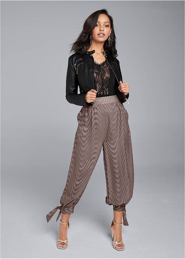 Chiffon Jogger Pants,Faux Leather Lace Up Jacket,Lace Detail Tank,Sexy Ankle Strap Heels,Animal Chain Crossbody Bag